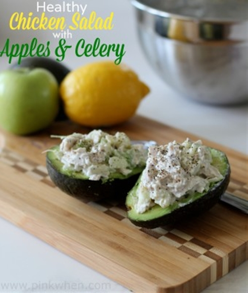 Healthy chicken salad with apples and celery