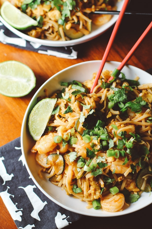 Spicy Sirarcha Shrimp Rice Noodles