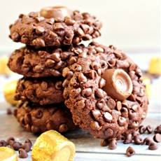 Rolo Stuffed Double Chocolate Cookies
