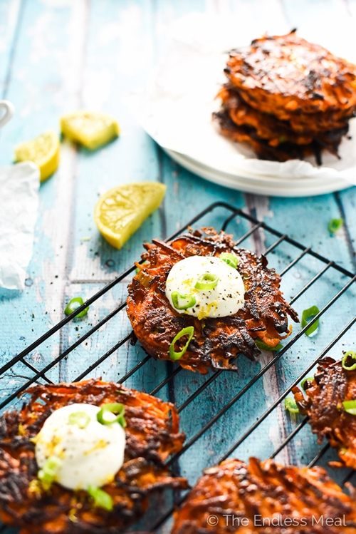 Green Onion and Sweet Potato Fritters