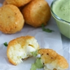 Cheese Stuffed Yuca Balls & Cilantro Dressing
