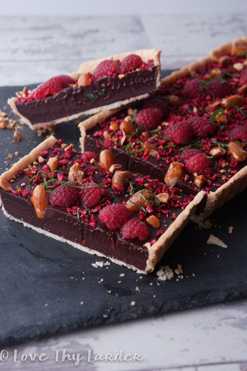 Chocolate and Raspberry Tart with a Raspberry Crumb & Croquant Almond.