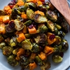Roasted Brussels Sprouts and Squash with Dried Cranberries
