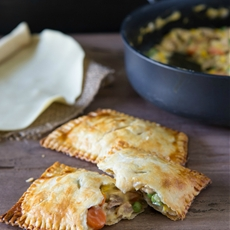 Chicken pot pie in a hot pocket