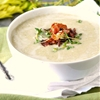 Creamy Celery and White Bean Soup with Crispy Bacon