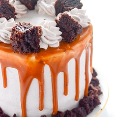 Dulce de Leche Brownie Ice Cream Cake