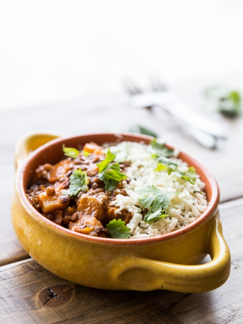 Winter Vegetable Lentil Red Curry with Cilantro Lime Cauliflower Rice