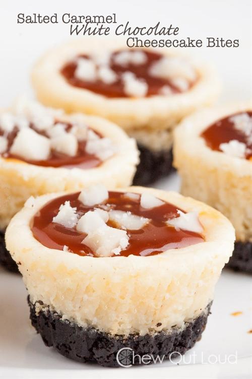 Salted Caramel White Chocolate Cheesecake Bites