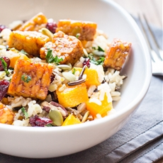 Wild Rice and Butternut Squash Salad with Maple Chili Tempeh