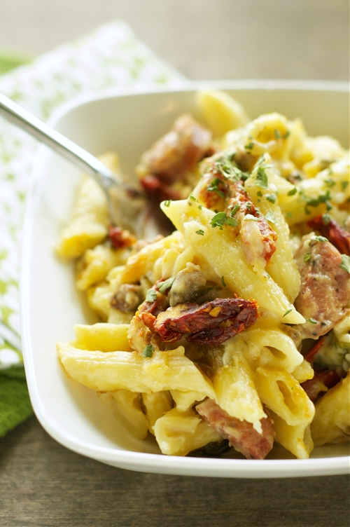 Crockpot Sausage Penne Bake with Sun-Dried Tomatoes and Spinach