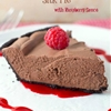 No-Bake Chocolate Silk Pie with Raspberry Sauce