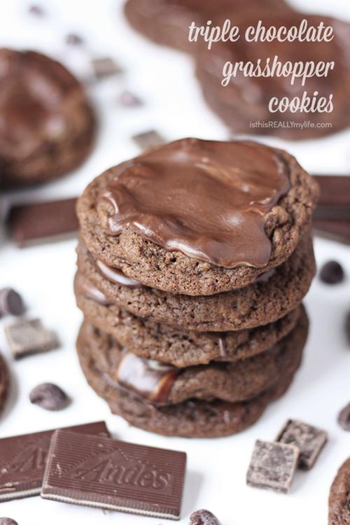 Decadent Triple Chocolate Grasshopper Cookies