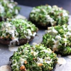 Broccoli-Stuffed Portabello Mushrooms with Dijon-Cheddar Sauce