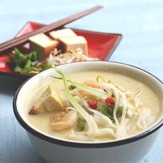 Thai coconut shrimp noodle soup