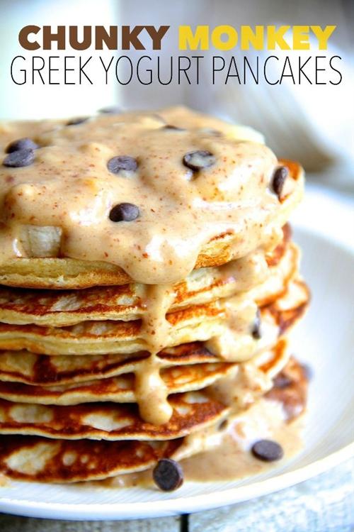 chunky monkey greek yogurt pancakes