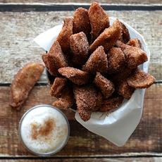 Apple Fries with Vanilla Whipped Cream {Vegan}