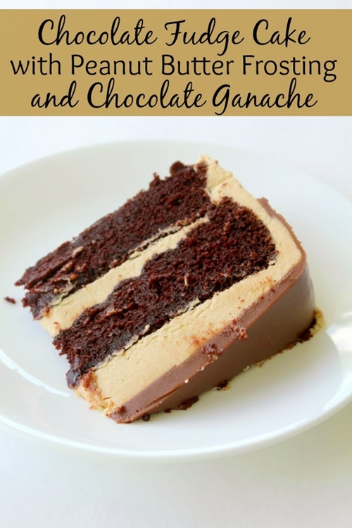 Chocolate Fudge Cake With Peanut Butter Frosting And Chocolate Ganache