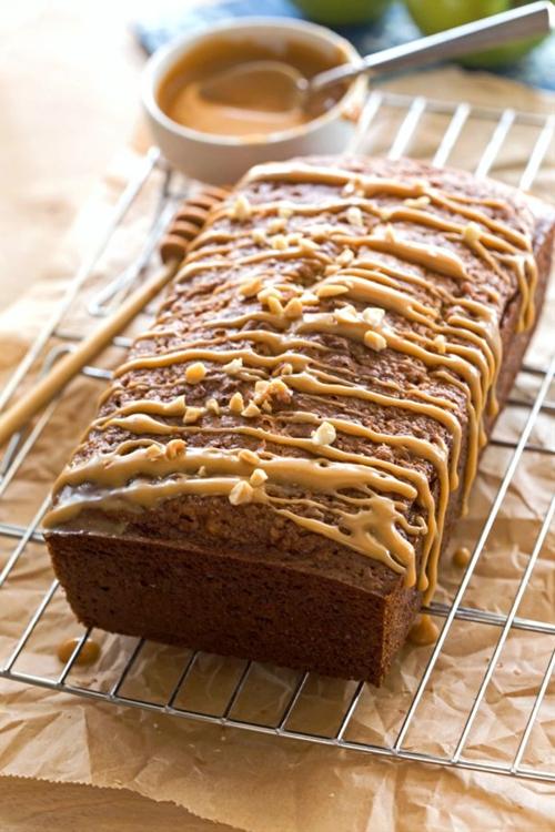 Honey Peanut Butter-Glazed Apple Bread