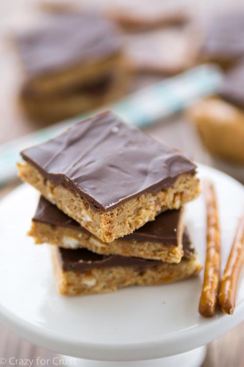 No Bake Peanut Butter Pretzel Bars