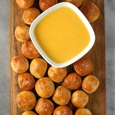 Salty Pretzel Bites with Cheddar