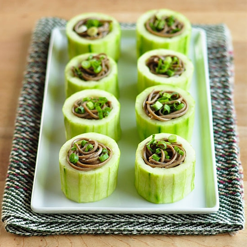 Chilled Soba in Cucumber Cups recipe | Chefthisup
