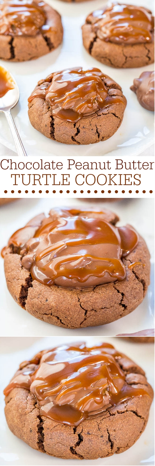 Chocolate Peanut Butter Turtle Cookies