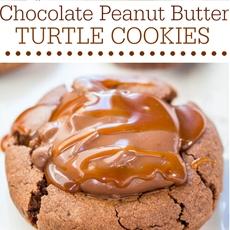 Chocolate Peanut Butter Turtle Cookies