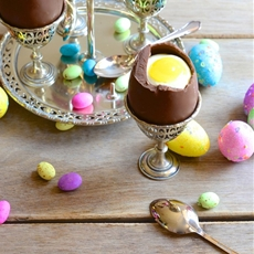 Easter egg cups with white chocolate mousse and lemon curd yolks