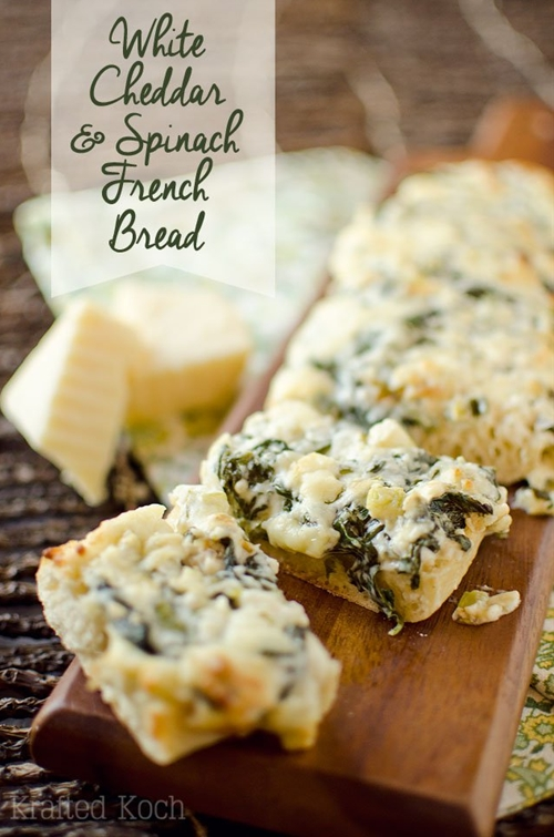 White Cheddar & Spinach French Bread