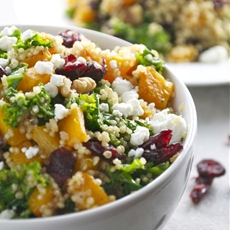 Butternut Squash Quinoa with Kale, Cranberries, Walnuts, Goat Cheese