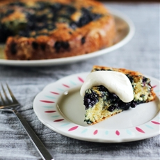 Lemon-Blueberry Yogurt Cake with Lemon Cream