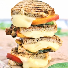 Grilled peach, mozzarella and basil sandwich