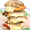 Grilled peach, mozzarella and basil sandwich