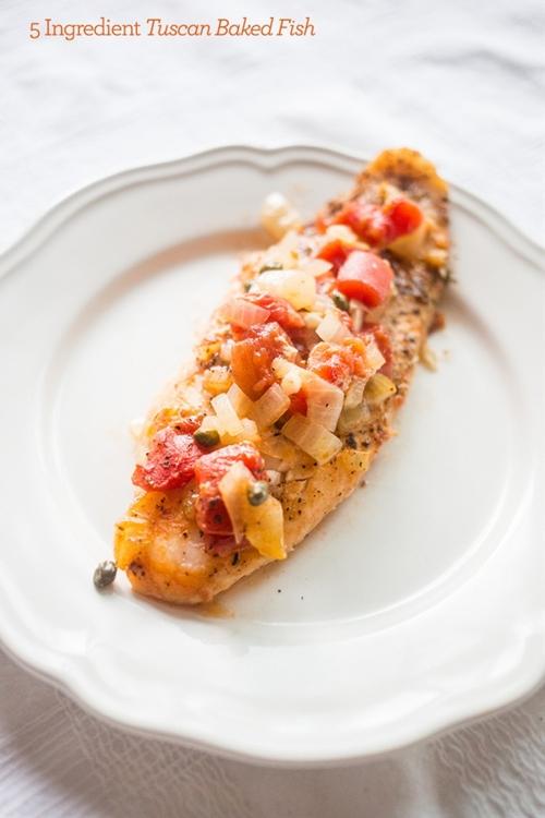 One Pot 5 Ingredient Tuscan Baked Fish