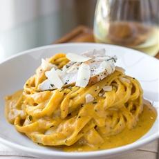 Pumpkin Cream Sauce Fettuccine with Grilled Sage