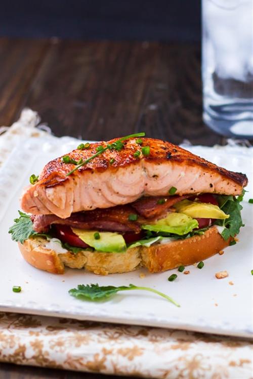 Open-Faced Salmon & Avocado BLTs