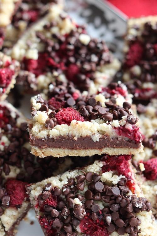 Chocolate Fudge and Raspberry Bars