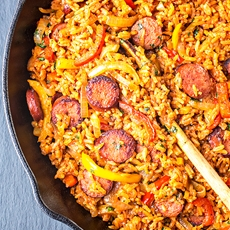 Smoked Sausage and Red Rice Skillet