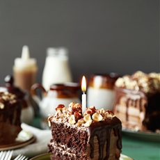 Chocolate Butterscotch Hazelnut Cake