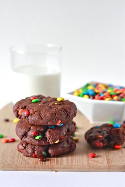 Soft Chocolate M&M Cookies