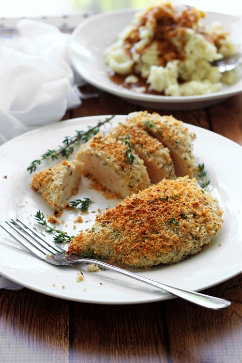 Baked Parmesan and Herb Crusted Chicken