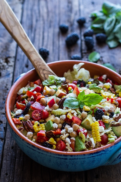 Easy Summer Herb and Chickpea Chopped Salad with Goat Cheese