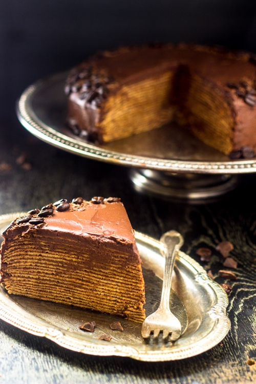 Crepe Cake with Chocolate Ganache
