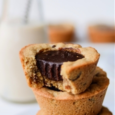 Chocolate Chip Cookie Cups filled with Chocolate Ganache