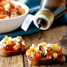 Our Favorite Tomato, Pepper, Feta & Basil Bruschetta