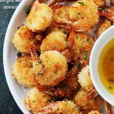 "Baked Batter ""Fried"" Shrimp with Garlic Dipping Sauce"