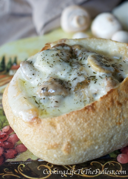 Philly Cheesesteak Stew in Bread bowl