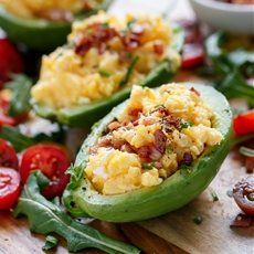 Cheesy Scrambled Eggs in Avocado