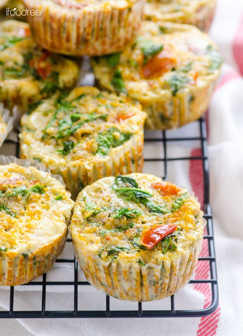Healthy Sundried Tomato, Spinach and Quinoa Egg Muffins