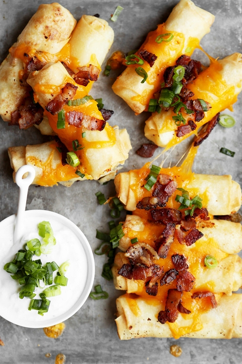 Loaded Baked Potato Spring Rolls
